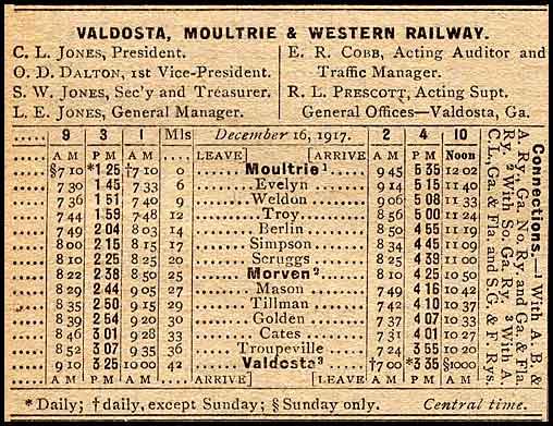 VM&W RR Timetable 1918